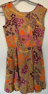 AU18 • Buy Tigerlily - 100% Cotton Brown Floral Dress - Size 10