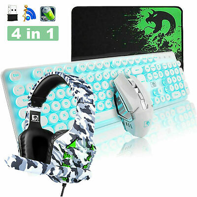 AU97.66 • Buy Gaming Keyboard And Mouse Combo With Headset LED Backlit USB Wireless + Mice Pad