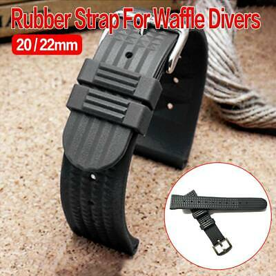 20mm/22mm Rubber Black For Waffle Divers Watch Strap • 9.68£