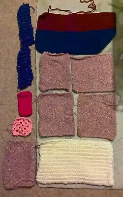 Knitted/Crocheted Rectangle Pieces In Yarns X11 Good Condition • 1.20£