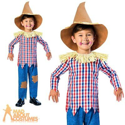 Kids Boys Scarecrow Costume Wizard Of Oz Halloween Fancy Dress Book Day Outfit • 10.49£