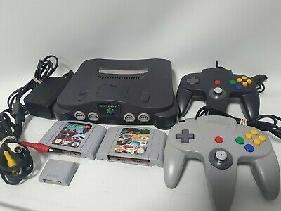 AU199 • Buy Nintendo 64 Console With All Cables + 2 Original Controllers + Games + More N64