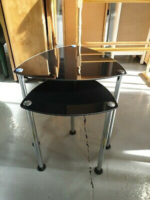 Nest Of Tables Black Glass/Chrome Sofa Side Occasional  Table  • 15£