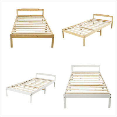 Single 3FT Solid Wood Bed Frame Fits Mattress 190 X 90cm White/Wooden Colour UK • 41.99£