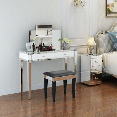 2 Drawers Mirrored Make Up Dressing Table Stool Folding Mirror Bedside Table Set • 118.99£