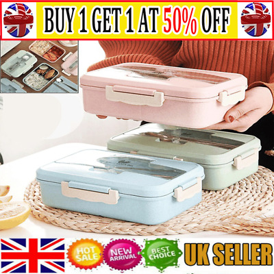3Compartments Lunch Box For Kid Adult Food Container Set Bento Storage Boxes ~AT • 6.99£