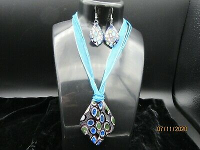 Murano Glass Pendant And Earring Set S/Steel Organza Ribbon Corded Necklace New • 4.99£