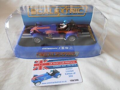 SCALEXTRIC C3437 Caterham 7 Slot Car Festival Car 2013 NEW 350 Limited Edition • 59£