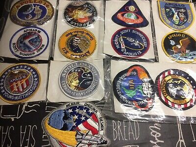 Apollo Mission Embroidered Patch - Set Of 12 +Rare Space Shuttle STS-51-L  • 30£