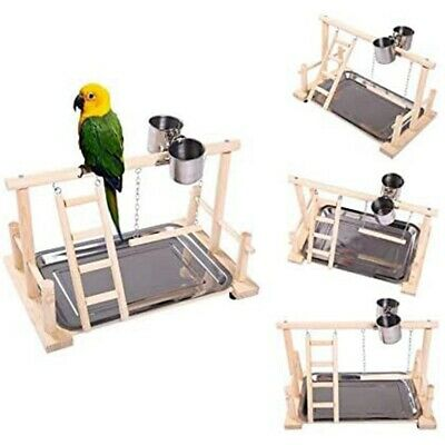 -Parrots Playstand Bird Playground Wood Perch Gym Stand Playpen Ladder With Toys • 16.58£