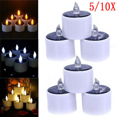 £2.99 • Buy 5/10X Solar Powered LED Candles Flameless Electronic Tea Lights Lamp Home Decor