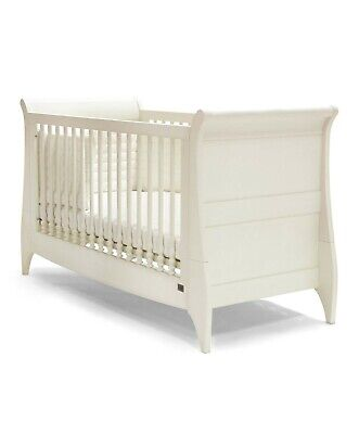 £250 • Buy Mamas & Papas Orchard Sleigh Cot/Toddler Bed + Mattress - Ivory White