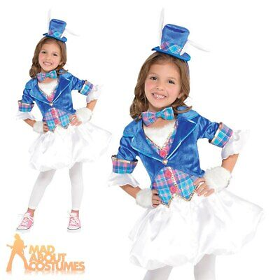 Kids White Rabbit Costume Girls Alice Wonderland Book Day Fancy Dress Outfit • 18.99£