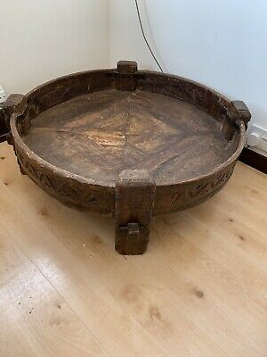 Antique Tribal Handmade Real Wood Circular Coffe Or Side Table John Lewis • 450£