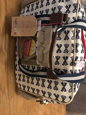 NEW! Yummy Mummy Baby Changing Bag With Navy Bows And PINK LINING Baby Girl/Boy • 36£