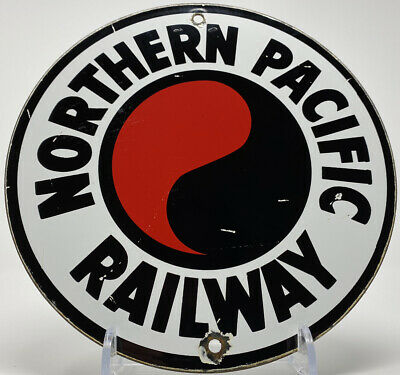 $ CDN177.49 • Buy Vintage Northern Pacific Railroad Porcelain Sign Transcontinental Gas Oil Rr