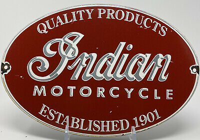 $ CDN326.44 • Buy Vintage Indian Motorcycle Porcelain Sign Gas Oil Harely Davidson Scout Polaris