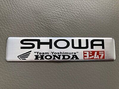 Showa Team Yoshimura Honda Alloy Decal Badge Exhaust 3D Polished Silver • 3.29£