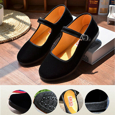 Ladies Chinese Mary Jane Shoes Ballerina Velvet Fabric Cotton Sole Flats  !  # • 11.27£