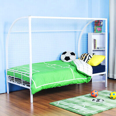 FOOTBALL BED 3FT SINGLE | Kids FOOTBALL GOAL Metal Bed Frame In White WITH NET! • 184.49£