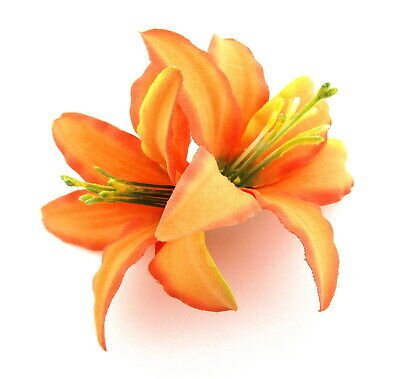 $5.75 • Buy Tropical Double Orange Lily Silk Flower Hair Clip,Pin Up,Updo,Bridal
