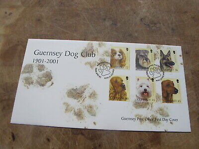 2001 Guernsey FDC / First Day Cover - Guernsey Dog Club - Scottie, Alsatian ++ • 1.50£