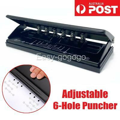AU24.95 • Buy Adjustable 6-Hole Punch Loose-Leaf Puncher Paper Stapler For Home Office Tool OZ