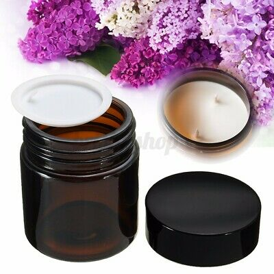30~120ml Amber Glass Jars Bottles With Black Lids For Cosmetic Makeup Storage ♤ • 12.03£
