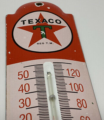 $ CDN206.73 • Buy Vintage Texaco Porcelain Thermometer Steel Gas Oil Garage Pump Plate Sign