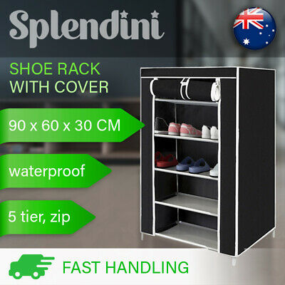 AU21.99 • Buy 5 Tier Shoe Rack Cabinet Storage Organiser Portable Shoes Wardrobe With Cover AU