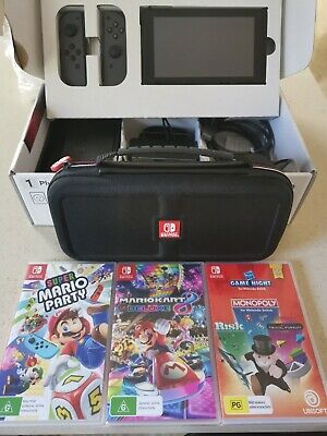 AU375 • Buy NEAR NEW Nintendo Switch Grey Console With Joy-Con + 3 Games + Portable Case