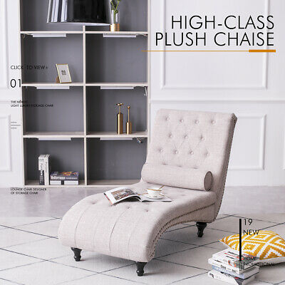 Fabric Chaise Lounge Sofa Bed Chair Longue With Pillow Living Room Linen Beige • 149.99£