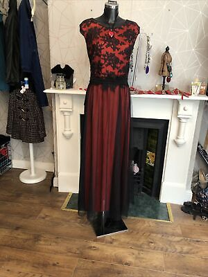 806 New Ever Pretty Plus Size Red Black Evening Dress Size 26 More Like 20-22 • 24.99£