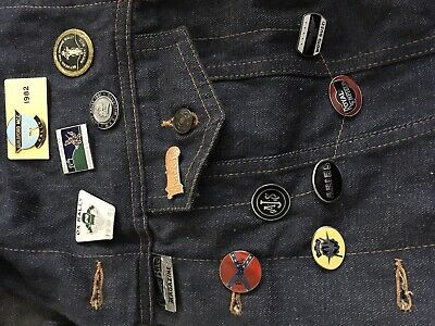 Old Denim Waist Coat Covered In Rally Badges • 0.99£