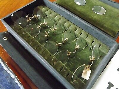 Vintage Optician's Reading Chart , Glasses And 12ct Gold Sample Lenses Box • 79.99£