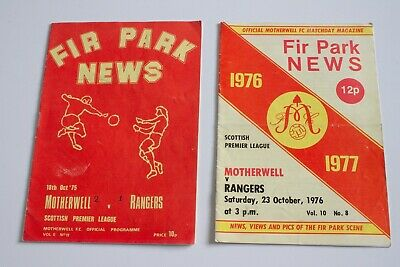 Motherwell FC Programmes V Rangers X 2 From 1975 & 1976 • 0.49£