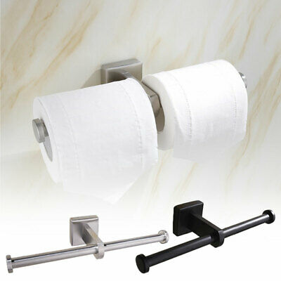 Luxury Double Toilet Roll Holder Dual Paper Organiser Chrome Wall Mounted Tool • 8.83£