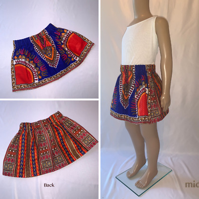 Alternating Blue & Red Dashiki/African Print Skirt For Girls And Toddlers • 11£