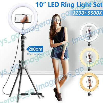 AU39.92 • Buy 10  LED Dimmable Ring Light +2M Tripod Stand Selfie Phone MakeUp Studio Lighting