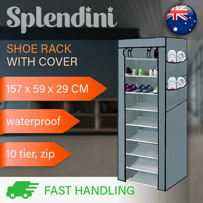 AU22.99 • Buy 10 Tier Shoe Rack Cabinet Storage Organiser Portable Shoes Wardrobe With Cover