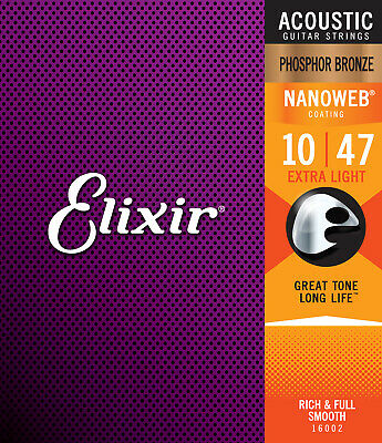 $ CDN26.53 • Buy Elixir 16002 Acoustic Guitar Strings Phosphor Bronze Nanoweb 10-47