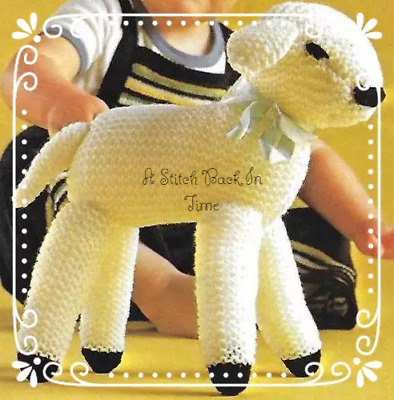 £2.50 • Buy Vintage Spring Lamb Knitted Soft Toy Knitting Pattern Child Baby 10 Inch Tall