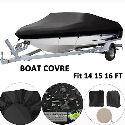 420D Trailerable Boat Cover V-Hull Speedboat Outdoor Waterproof Dust Protector • 49.99£