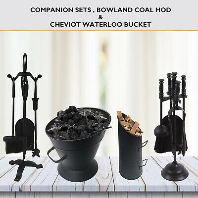 4 Companion Set Piece Iron Tools, Fireside, Black Coal, Scuttle Waterloo Bucket • 19.89£
