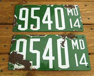 $ CDN95.20 • Buy 1914 (md) Maryland Porcelain License Plates Matched Pair-nr