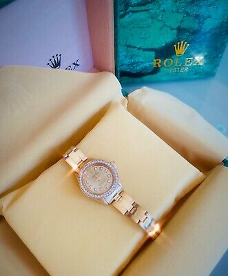 $ CDN9354.10 • Buy Rolex Oyster Perpetual Woman Vintage Jewelry Watch Rare Rose Gold With Diamonds