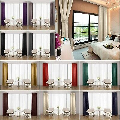 Thermal Pencil Pleat Blackout Tape Top Pair Of Curtains Ready Made Free Tiebacks • 18.99£