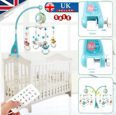Baby Crib Mobile Musical Bed Bell With Controller Music Night Light Newborn Toy • 20.78£