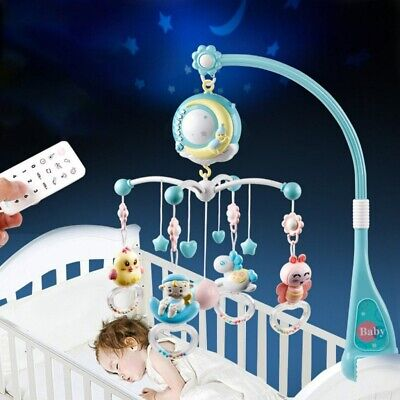 Baby Crib Mobile Musical Bed Bell With Controller Music Night Light Newborn Toys • 20.99£