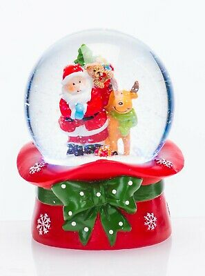 CeleBRIGHT Xmas Musical Santa & Rudolph Snow Globe Colour LED Light Show -14cm • 14.99£